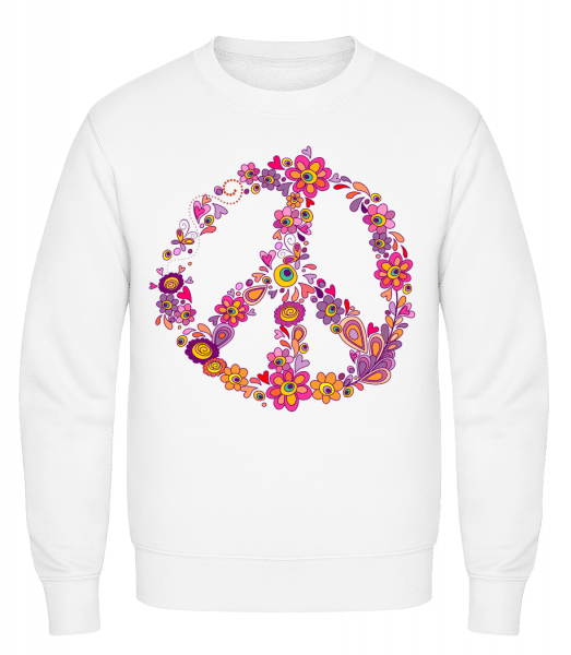Peace Sign Flowers - Classic Set-In Sweatshirt - White - Vorn