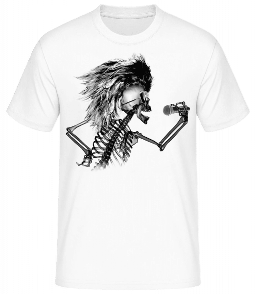 Singing Skeleton - Men's Basic T-Shirt - White - Front