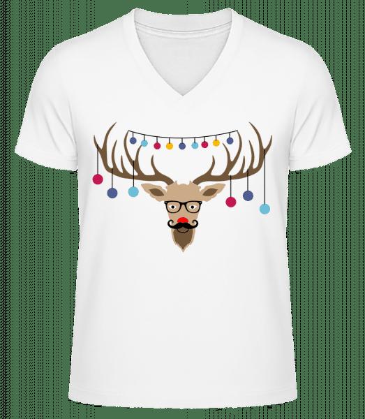 Christmas Reindeer - Men's V-Neck Organic T-Shirt - White - Vorn