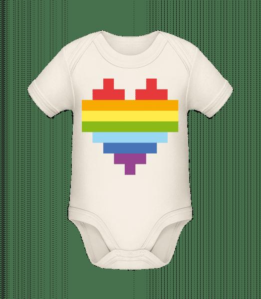 Rainbow Heart - Organic Baby Body - Cream - Vorn
