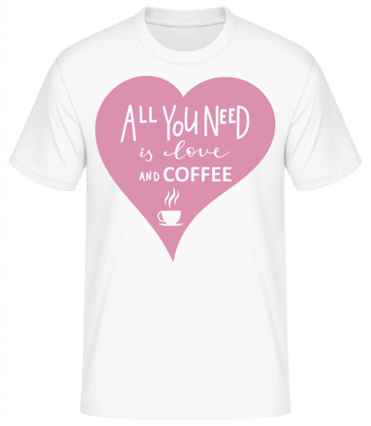 Love And Coffee - Basic T-Shirt - Blanc - Vorn