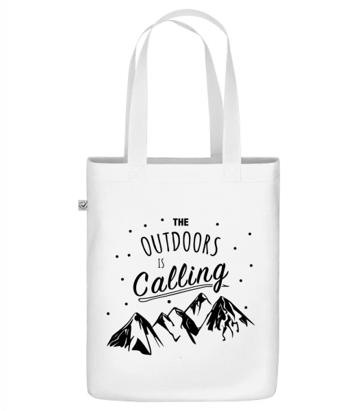 The Outdoors Is Calling - Sac en toile bio Earth Positive - Blanc - Devant