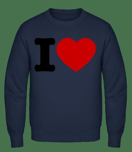 I Love - Classic Set-In Sweatshirt - Navy - Vorn