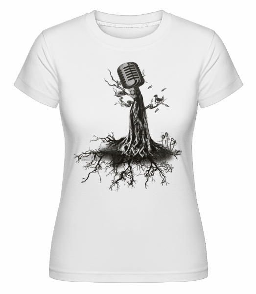 Microphone Tree -  Shirtinator Women's T-Shirt - White - Vorn