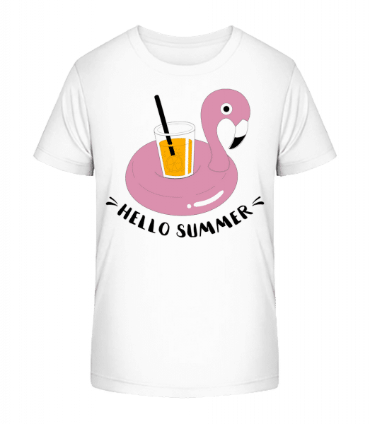 Hello Summer Flamingo - Kid's Premium Bio T-Shirt - White - Front