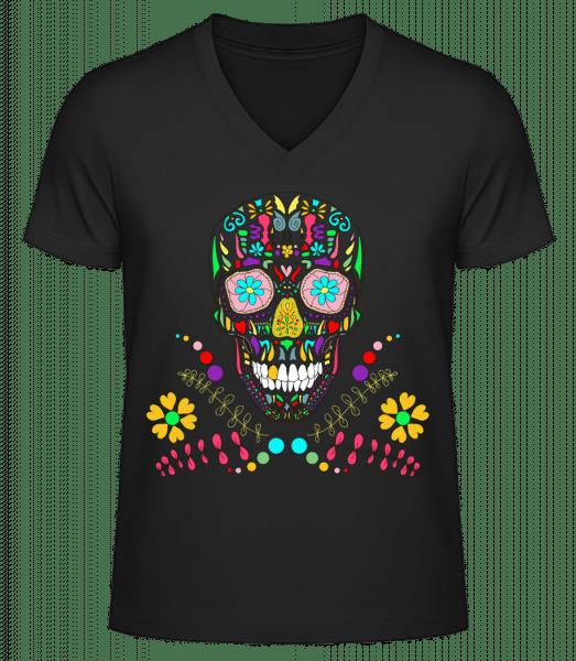 Colorful Skull - Men's V-Neck Organic T-Shirt - Black - Vorn