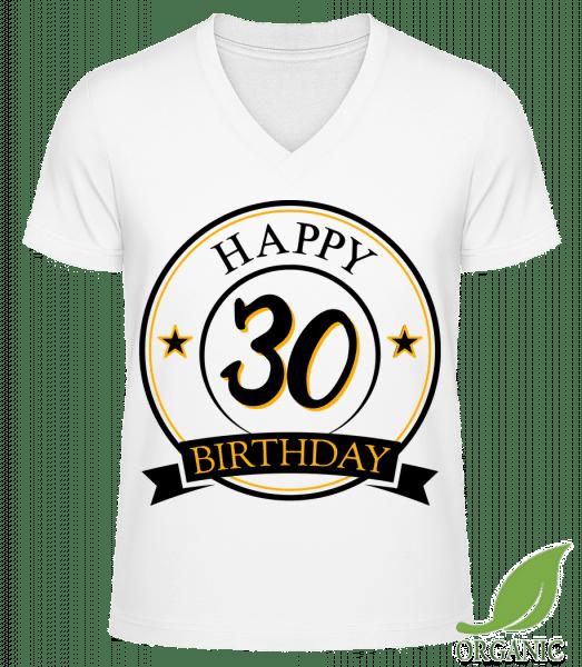 """Happy Birthday 30 - """"James"""" Organic V-Neck T-Shirt - White - Vorn"""
