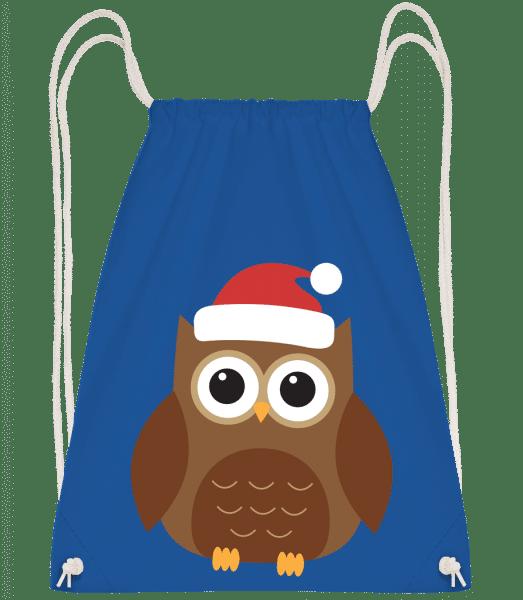 Christmas Owl - Drawstring Backpack - Royal Blue - Vorn
