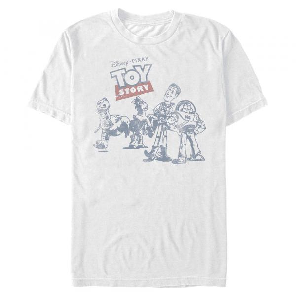 Vintage Comic Group Shot - Pixar Toy Story 1-3 - Men's T-Shirt - White - Front