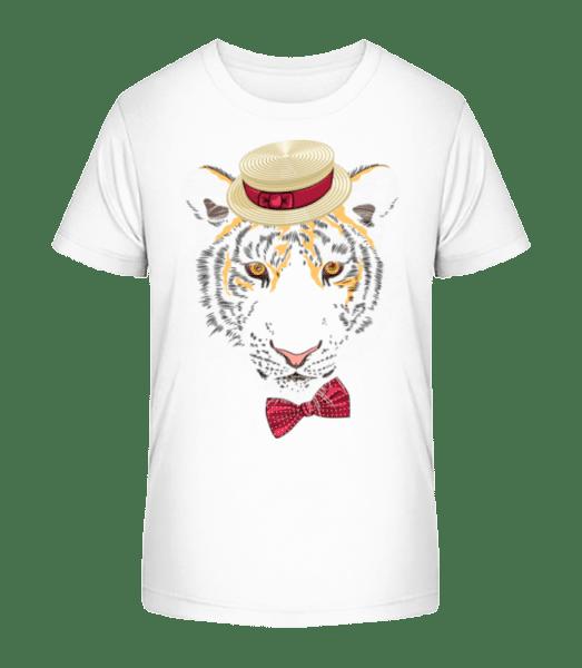 Tiger With Hat - Kid's Premium Bio T-Shirt - White - Vorn