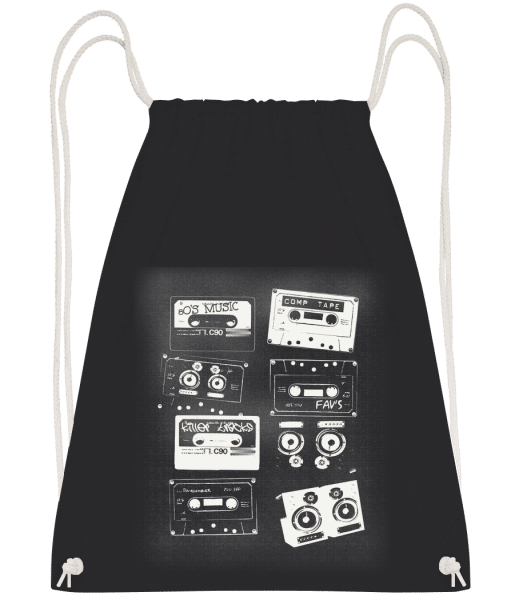 Old Cassettes - Drawstring Backpack - Black - Vorn