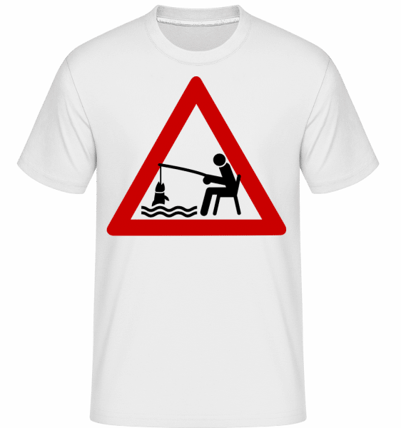 Fishing Warning Sign -  Shirtinator Men's T-Shirt - White - Front