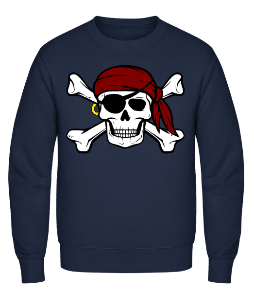 Pirate Skull - Classic Set-In Sweatshirt - Navy - Vorn