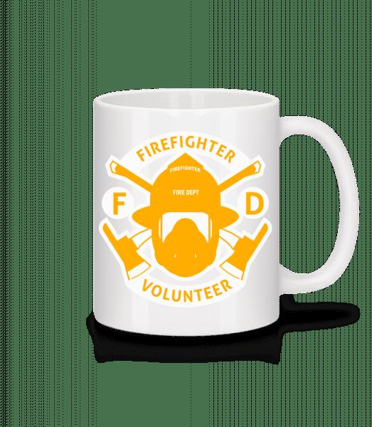 hasič dobrovolníka - Keramický hrnek - Bílá - Napřed