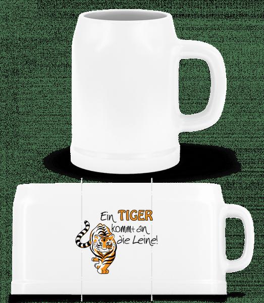 Ein Tiger Kommt An Die Leine - Bierkrug - Weiß - Vorn