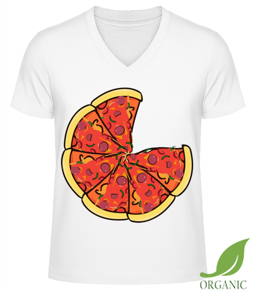 "Pizza - ""James"" Organic V-Neck T-Shirt - White - Vorn"
