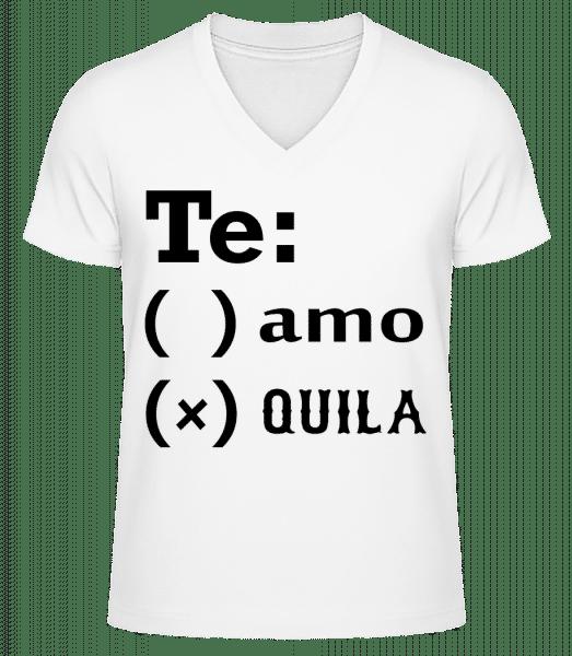 Te Amo Tequila - Men's V-Neck Organic T-Shirt - White - Vorn