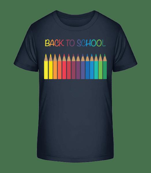 Back To School - Crayons - Kinder Premium Bio T-Shirt - Marine - Vorn