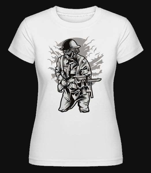 Steampunk Style Soldier -  Shirtinator Women's T-Shirt - White - Vorn