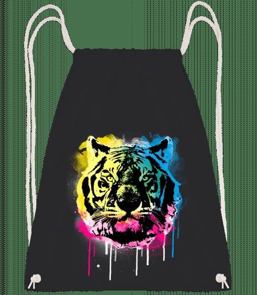 Bunter Tiger - Turnbeutel - Schwarz - Vorn