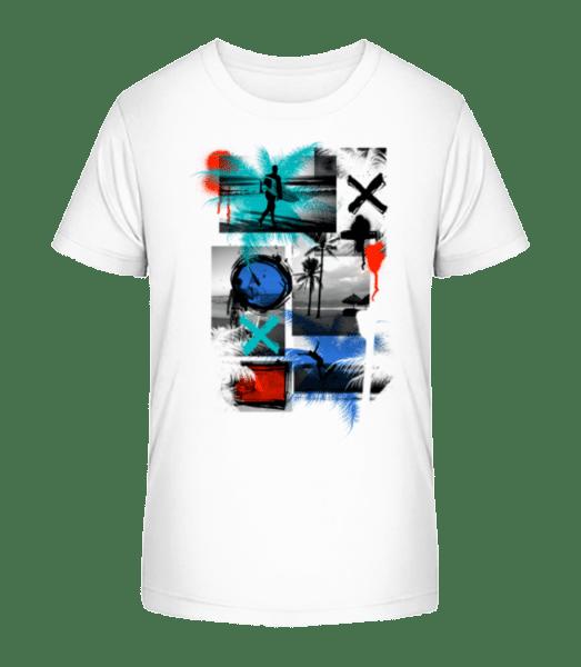 Surfing And Graffiti - Kid's Premium Bio T-Shirt - White - Front