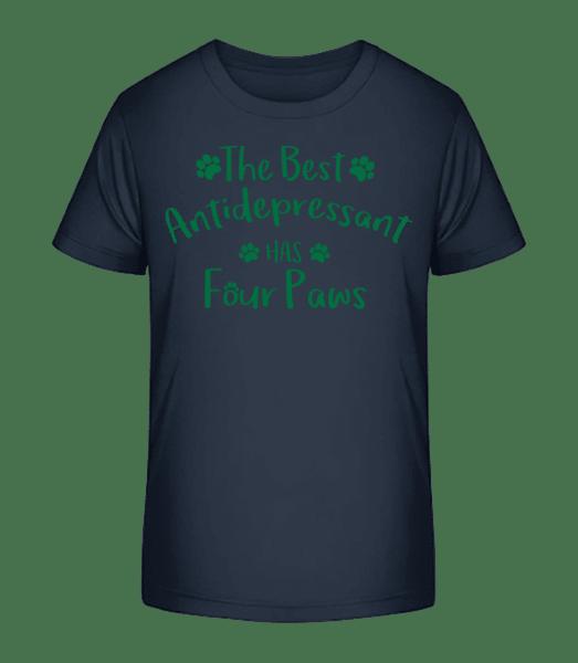 The Best Antidepressant - Kid's Premium Bio T-Shirt - Navy - Front