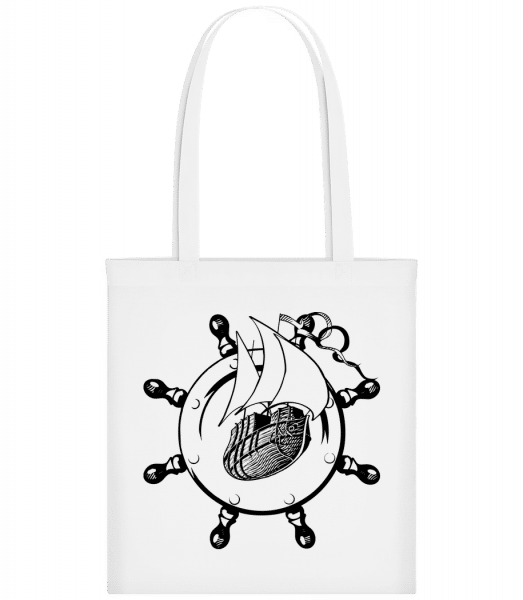 Ship Wheel Icon - Carrier Bag - White - Vorn