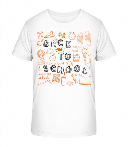 Back To School Symbols - Kinder Premium Bio T-Shirt - Weiß - Vorn