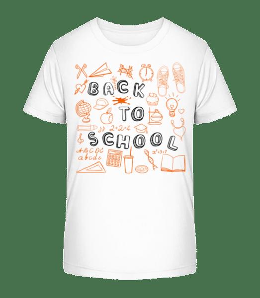 Späť do školy symboly - Detské Premium Bio tričko - Biela - Predné