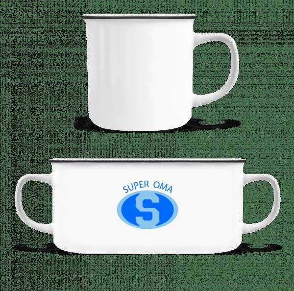 Super Oma - Emaille-Tasse - Weiß - Vorn