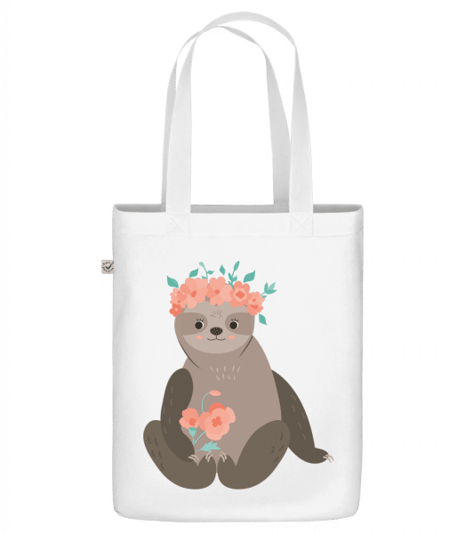 """Sloth With Flowers - Organic """"Earth Positive"""" tote bag - White - Vorn"""