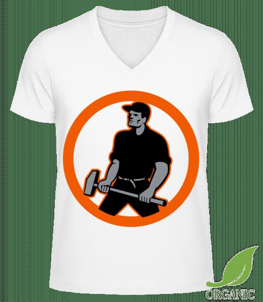 """Construction Worker Logo - """"James"""" Organic V-Neck T-Shirt - White - Vorn"""