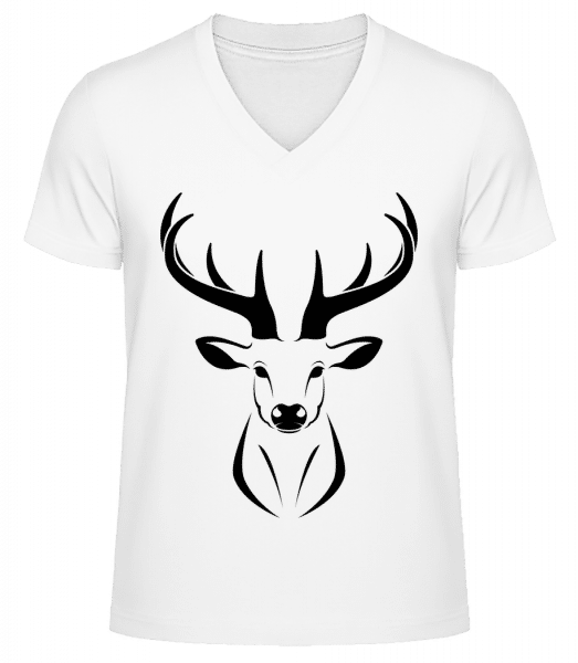 Deer - Men's V-Neck Organic T-Shirt - White - Vorn