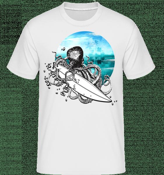 Surfer Kraken - Shirtinator Männer T-Shirt - Weiß - Vorn