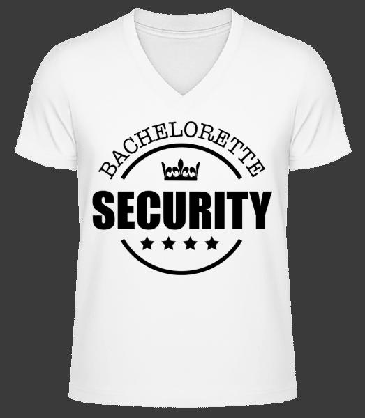 Bachelorette Security - Men's V-Neck Organic T-Shirt - White - Vorn