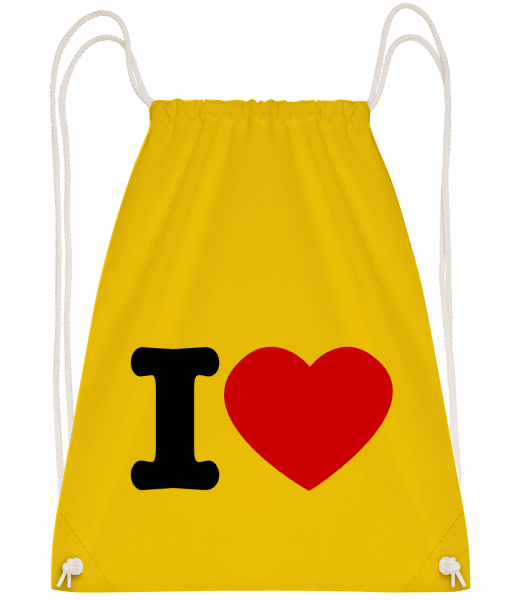I Love - Drawstring Backpack - Yellow - Vorn
