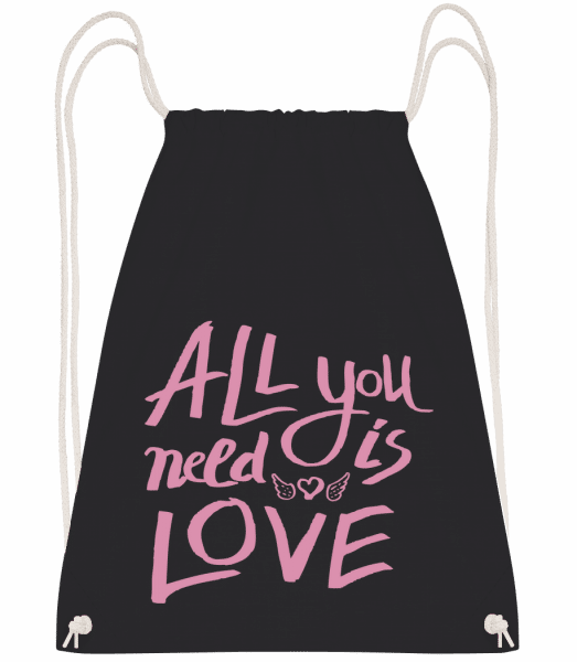 All You Need Is Love - Drawstring Backpack - Black - Vorn