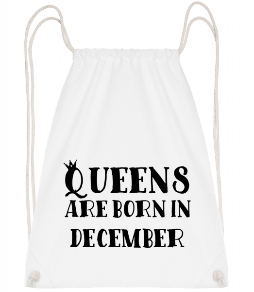 Queens Are Born In December - Drawstring Backpack - White - Vorn