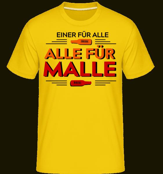 Einer Für Alle Alle Für Malle - Shirtinator Männer T-Shirt - Goldgelb - Vorn