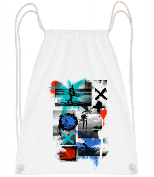 Surfing And Graffiti - Drawstring Backpack - White - Vorn