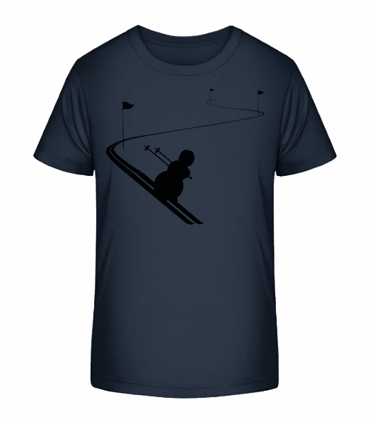 Ski Snowman Black - Kid's Premium Bio T-Shirt - Navy - Vorn