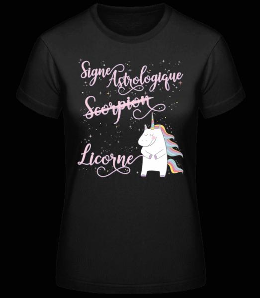 Signe Astrologique Licorne Scorp - T-shirt standard femme - Noir - Vorn