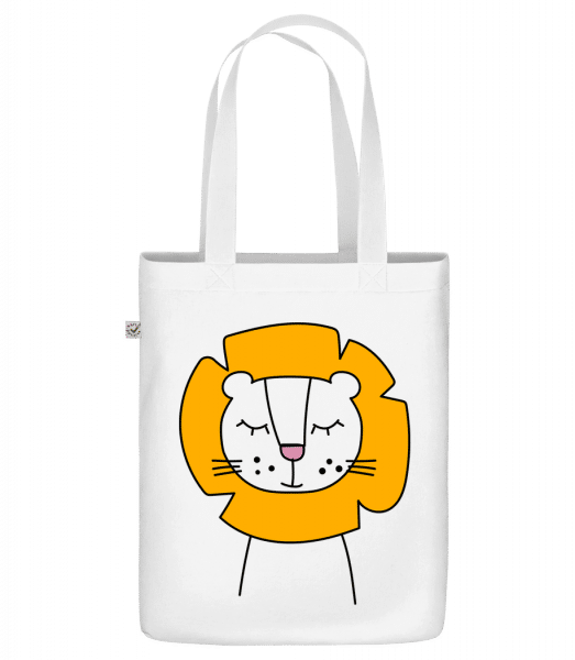 "Cute Lion - Organic ""Earth Positive"" tote bag - White - Front"