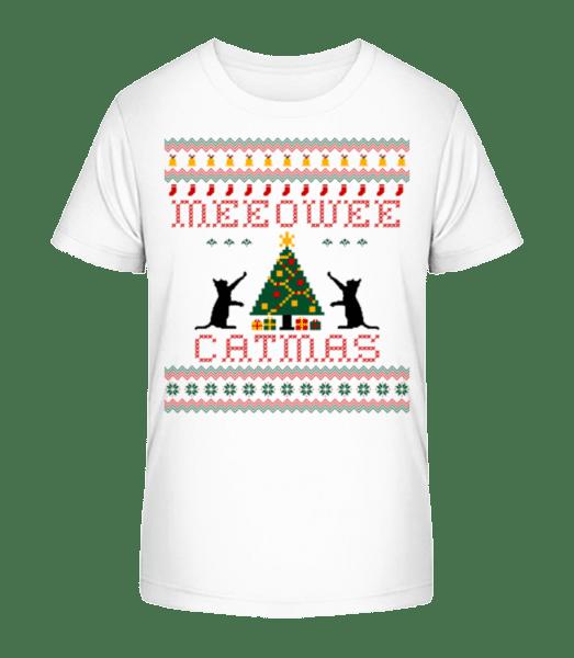 MEEOWEE Catmas - Kid's Premium Bio T-Shirt - White - Front