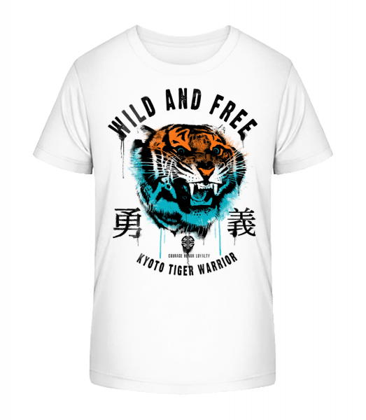Wild And Free Tiger - Kid's Premium Bio T-Shirt - White - Vorn