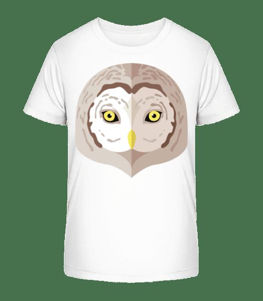 Eule Comic Schatten - Kinder Premium Bio T-Shirt - Weiß - Vorn