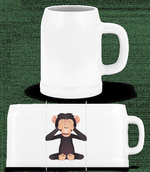 blind Monkey - Pivný pohár - Biela - Predné