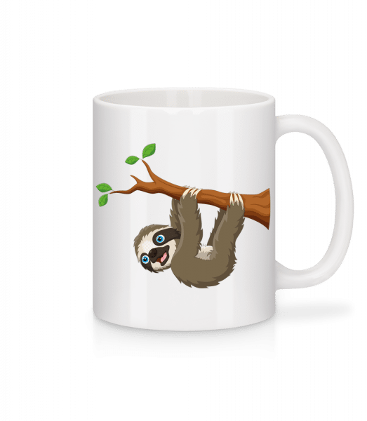 Cute Sloth Hanging On A Branch - Mug - White - Vorn