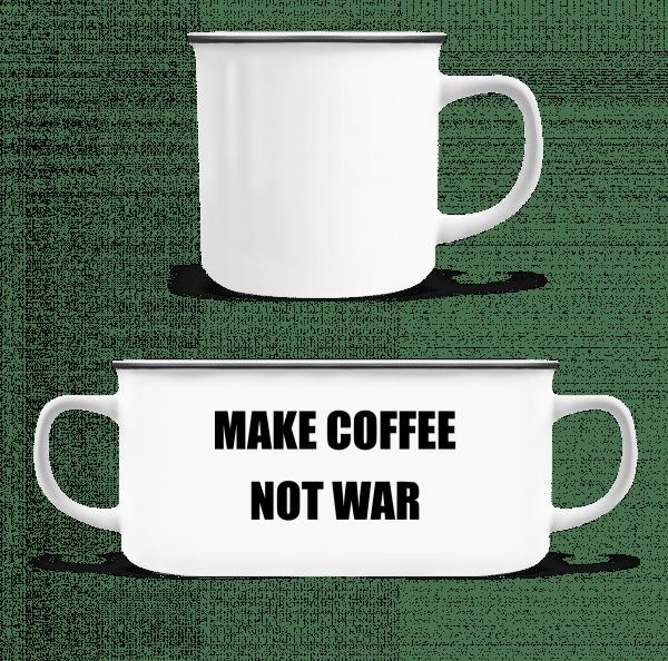 Make Coffee Not War - Emaille-Tasse - Weiß - Vorn