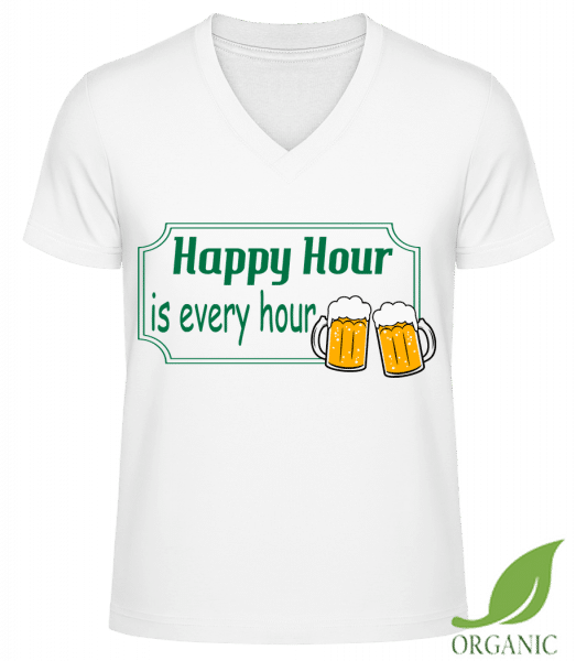 "Happy Hour Is Every Hour Sign Gr - ""James"" Organic V-Neck T-Shirt - White - Vorn"